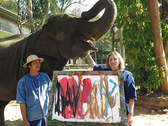 Aleena's finished painting, her mahout, and I